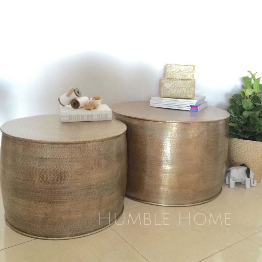 Set Of 2 GOLD Metal Round Side Tables/Aluminium Coffee Tables Set/Drum