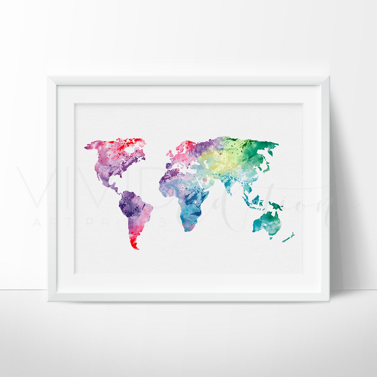 World map 1 watercolor art print watercolor arts pinterest world map canvas watercolor art print wall art by la printerie gumiabroncs Choice Image