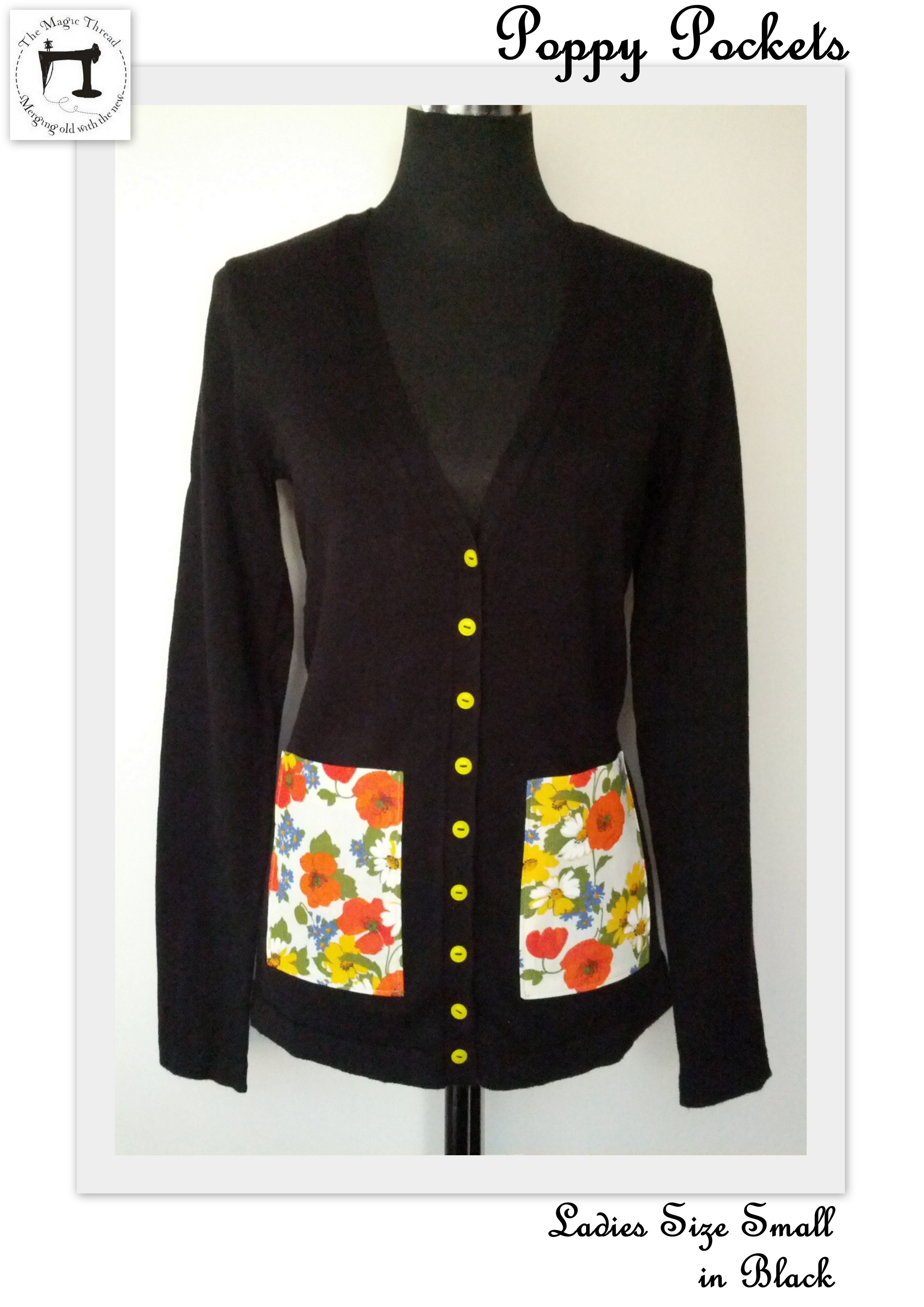 Custom Order for Coralie Nathan   Poppy Pockets Ladies Size Small  Made in a black long style cardigan embellished with vintage 70's floral fabric pockets and yellow vintage buttons.  Can be worn buttoned up casually with hands in pockets and undone loosely whichever you choose for this comfy yet stylish 100% cotton knit cardigan!