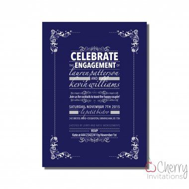 Traditional Style Themed Single Sided Personalised Engagement - free engagement party invitations