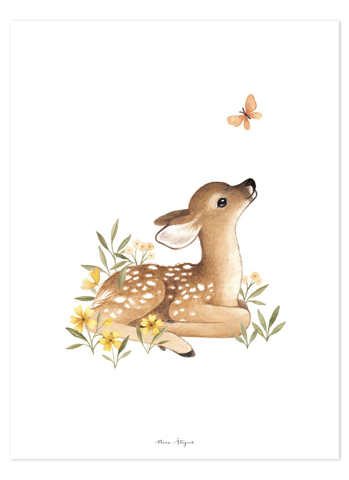 Photo of Lilipinso Kinderzimmer-Poster 'Oh Deer' Reh natur/beige/gr�n 30x40cm