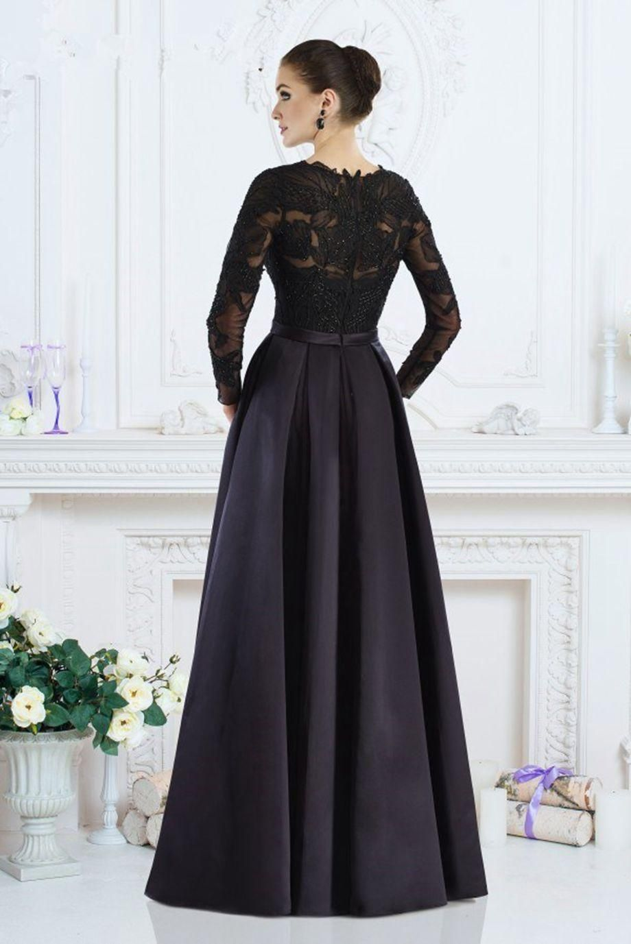 Cheap black long sleeve mother of the bride dresses boat neck