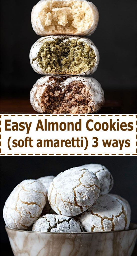 Photo of Italian almond cookies – soft amaretti (3-ways)