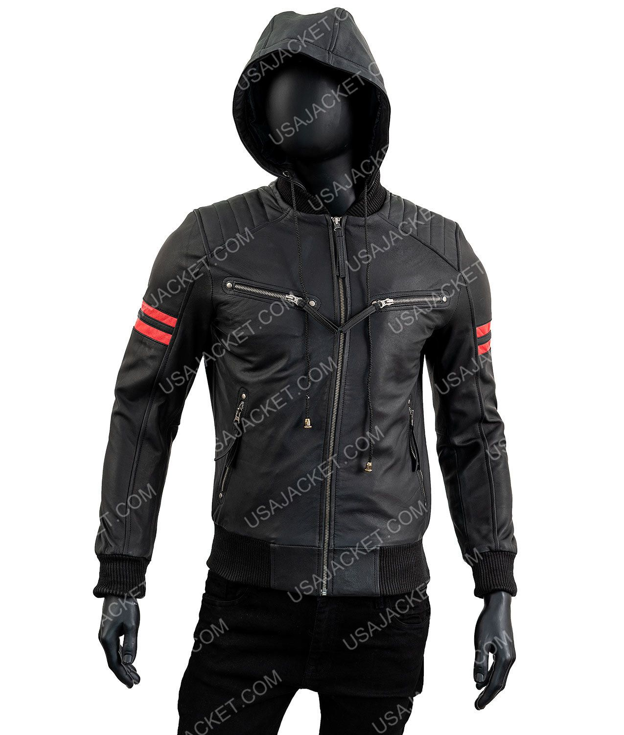 Shepherd Bomber Red Striped Biker Retro Faux Leather Jacket With Hood Coats Jackets Leather Hoodie Hoodie Jacket Men Leather Jacket With Hood [ 1500 x 1275 Pixel ]