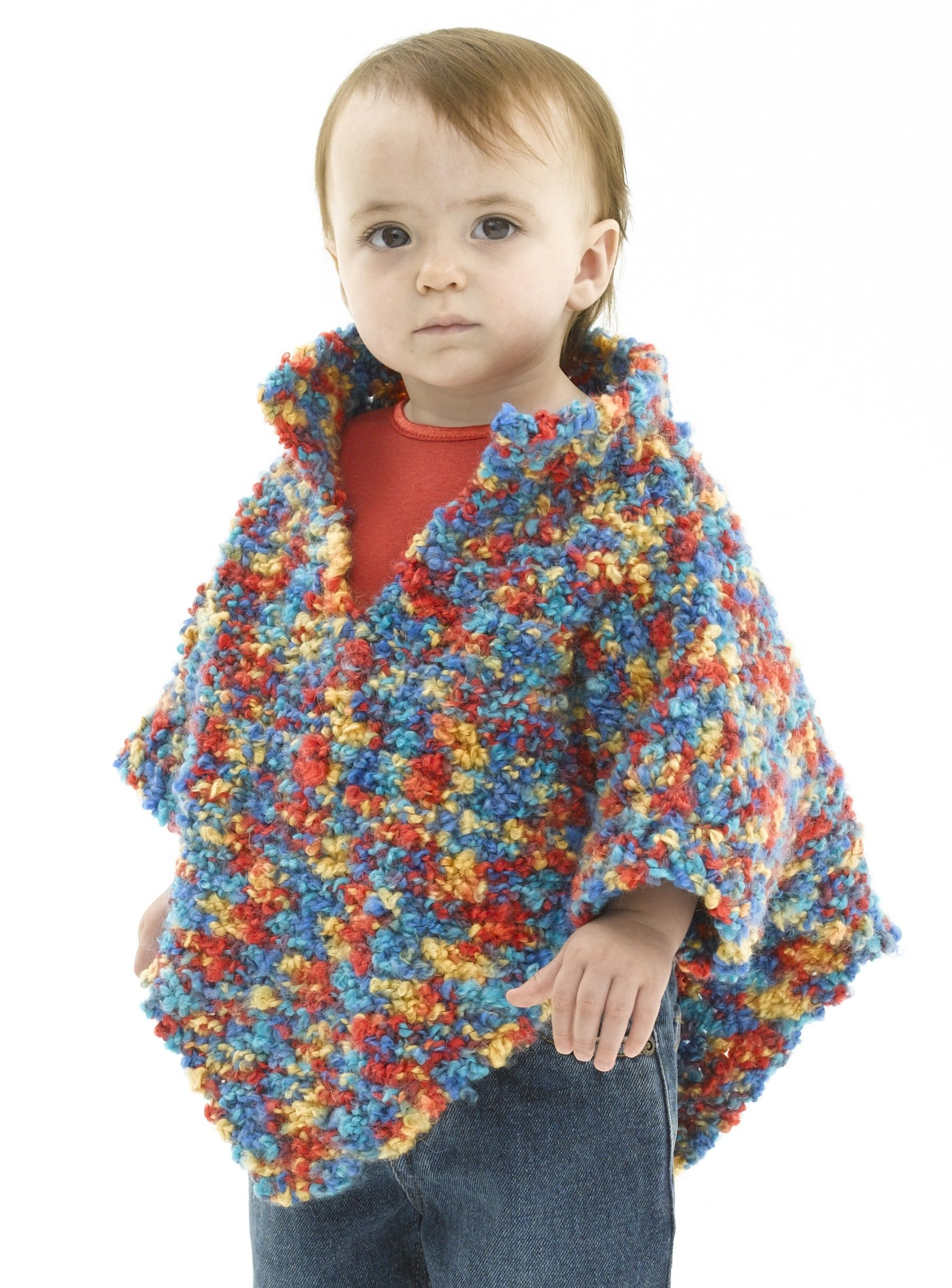 Free Knitting Pattern - Knitted Baby Poncho - Lion Brand Yarn ...