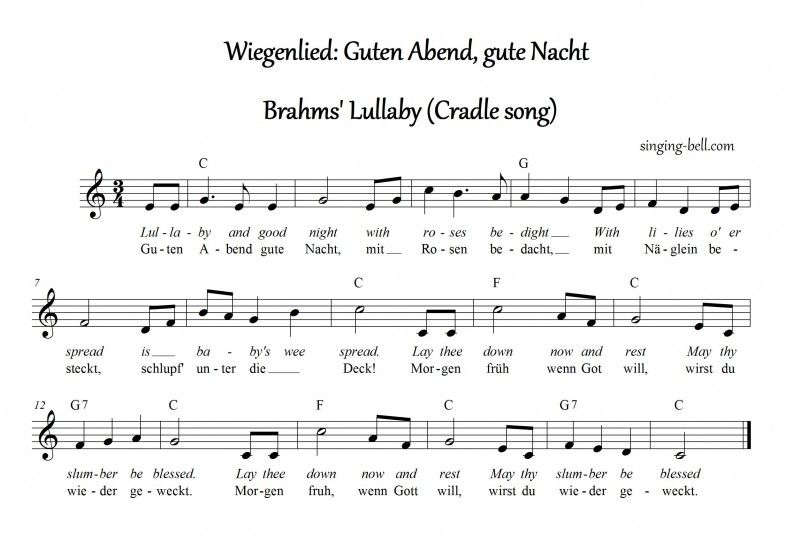 Brahms Lullaby Music Score With Chords In C