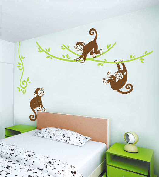 Monkey Wall Decal Monkey Wall Stickers Jungle Tree Wall Decal Jungle Wall Decal Jungle Nursery Decor Monkey Nursery Decal Con Imagenes Dormitorios Recamara Adornos