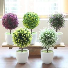 Artificial Fake Plants Plastic Simple Ball Tree Home Garden Office Table Decor