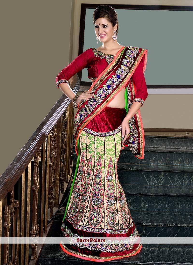 Multicolored Faux Chiffon Lehenga Style Saree