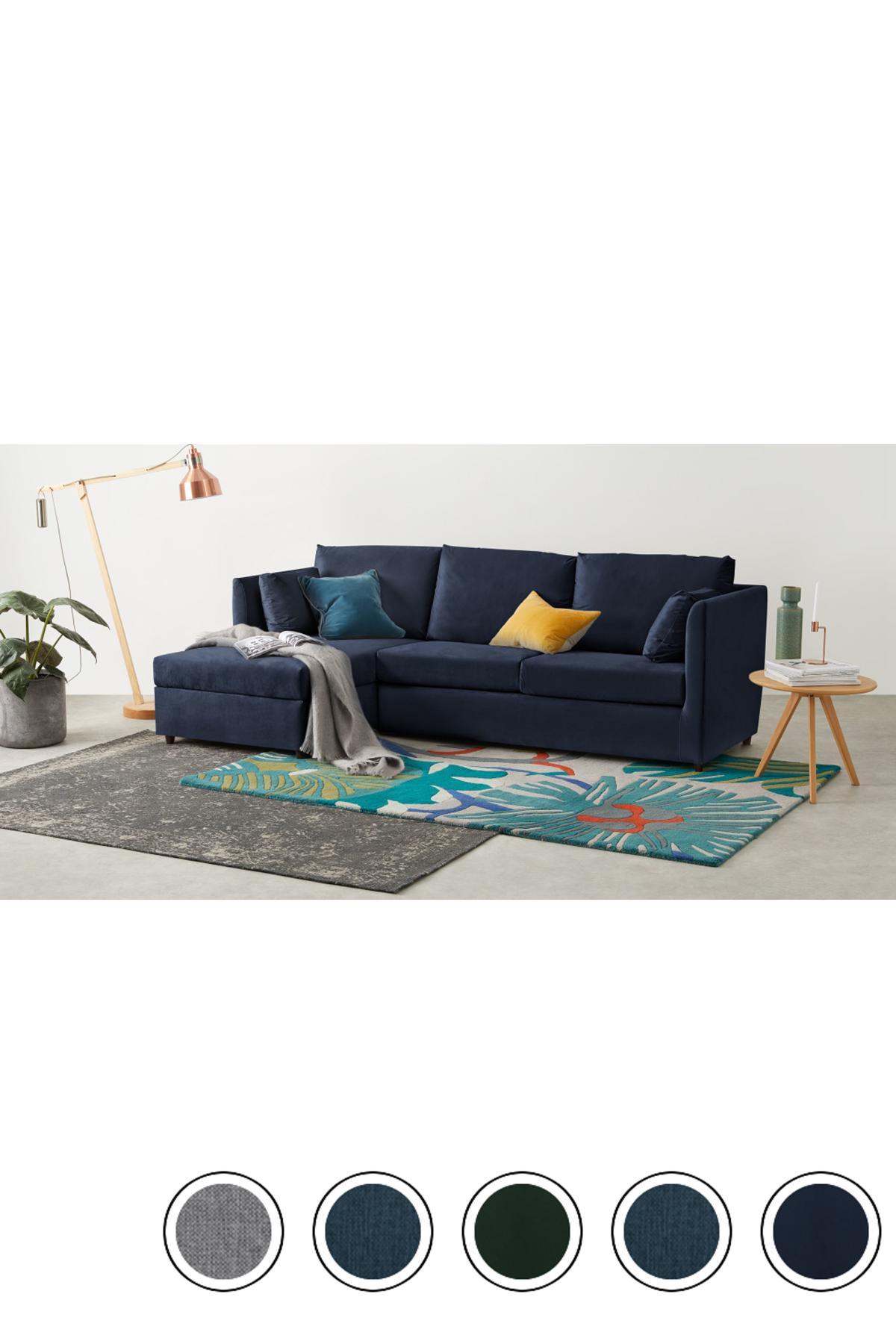 MADE Regal Blue Velvet Corner Sofa Bed