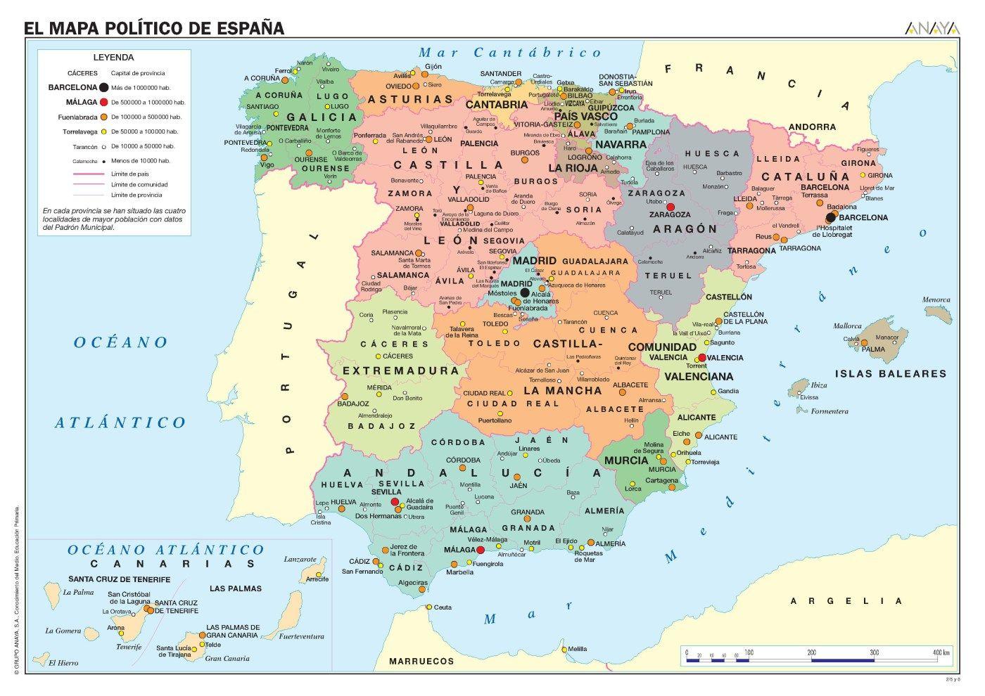 MAPAS DE ESPAA FSICOS POLTICOS Y MUDOS  Mapa politico Mapas