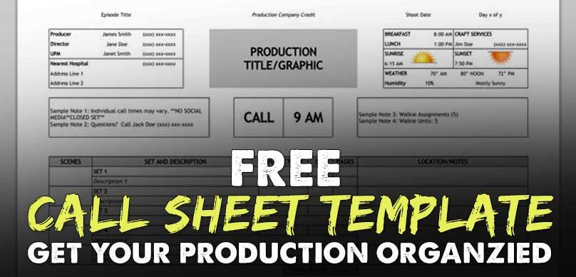 FREE Download Call Sheet Template The Only One You\u0027ll Ever Need