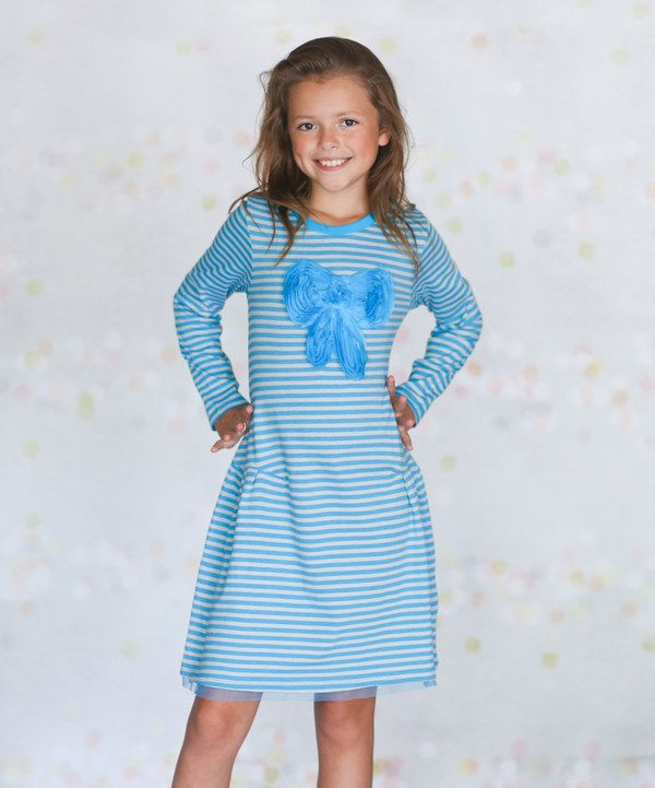 Look at this Turquoise Stripe Big Bow Dress - Infant, Toddler & Girls on #zulily today!