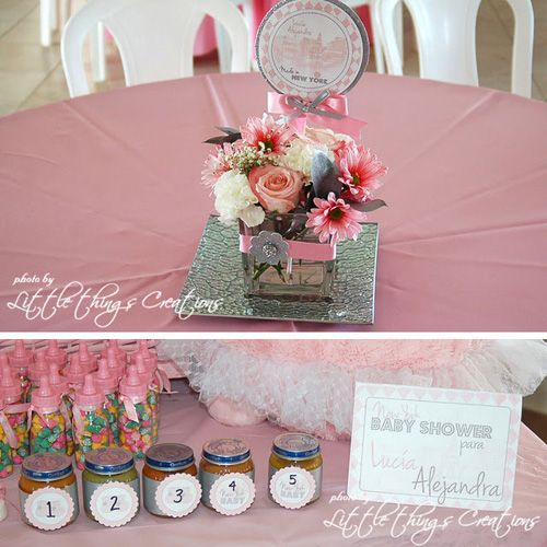 New York Pink Themed Baby Shower Flower Centerpieces