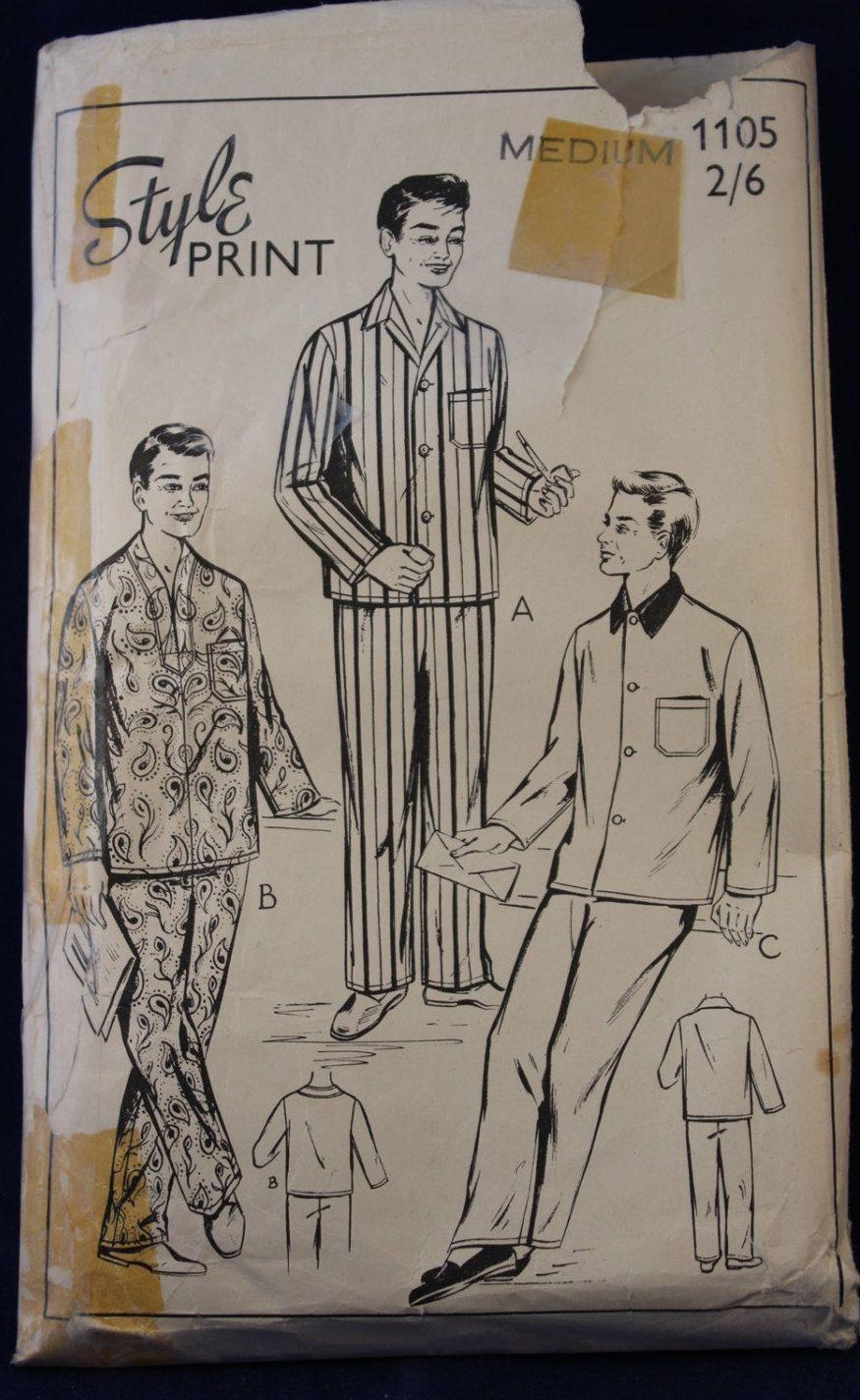 Vintage Sewing Pattern for Men\'s Pyjamas in Size medium. I sure like ...