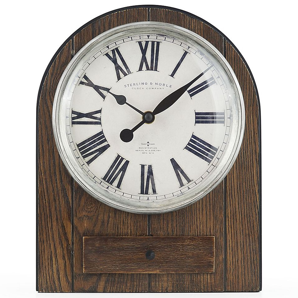 Sterling Noble Farmhouse Collection Arched Mantel Clock In Brown Wood Clock Mantel Clock Mantel Clocks