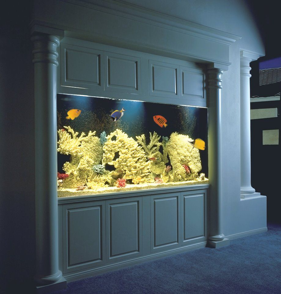 300 Gallon Aquarium With White Lacquered Wood Finish. The