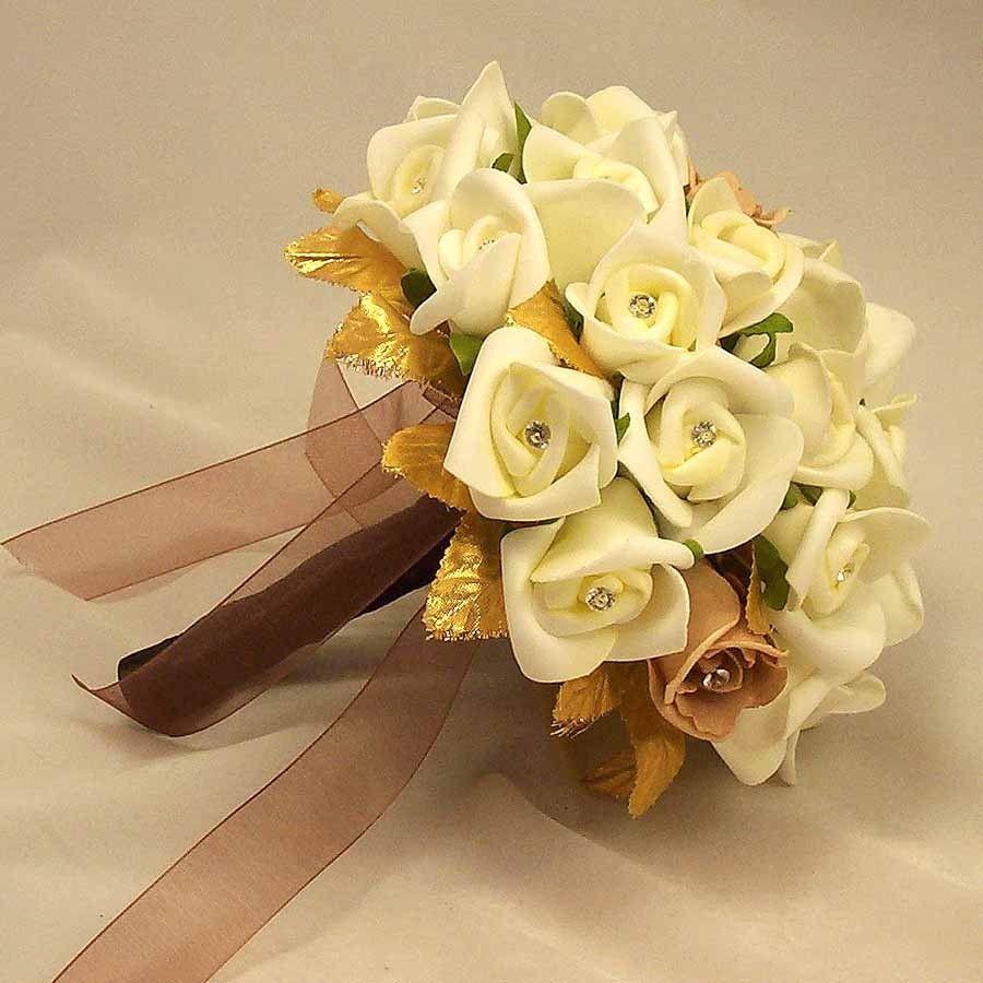 Ivory Rosebud & Gold Leaf Bouquet | Wedding flowers | Pinterest ...
