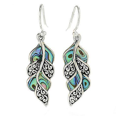 "155-507 - Artisan Silver by Samuel B. 1.5"" Gemstone Scrollwork Leaf Drop Earrings"