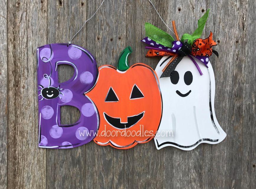 Boo Halloween Door Hanger With Spider Pumpkin Jack O Lantern Ghost Fall Door Hanger Decoration Halloween Door Halloween Door Hangers Valentines Door Hanger