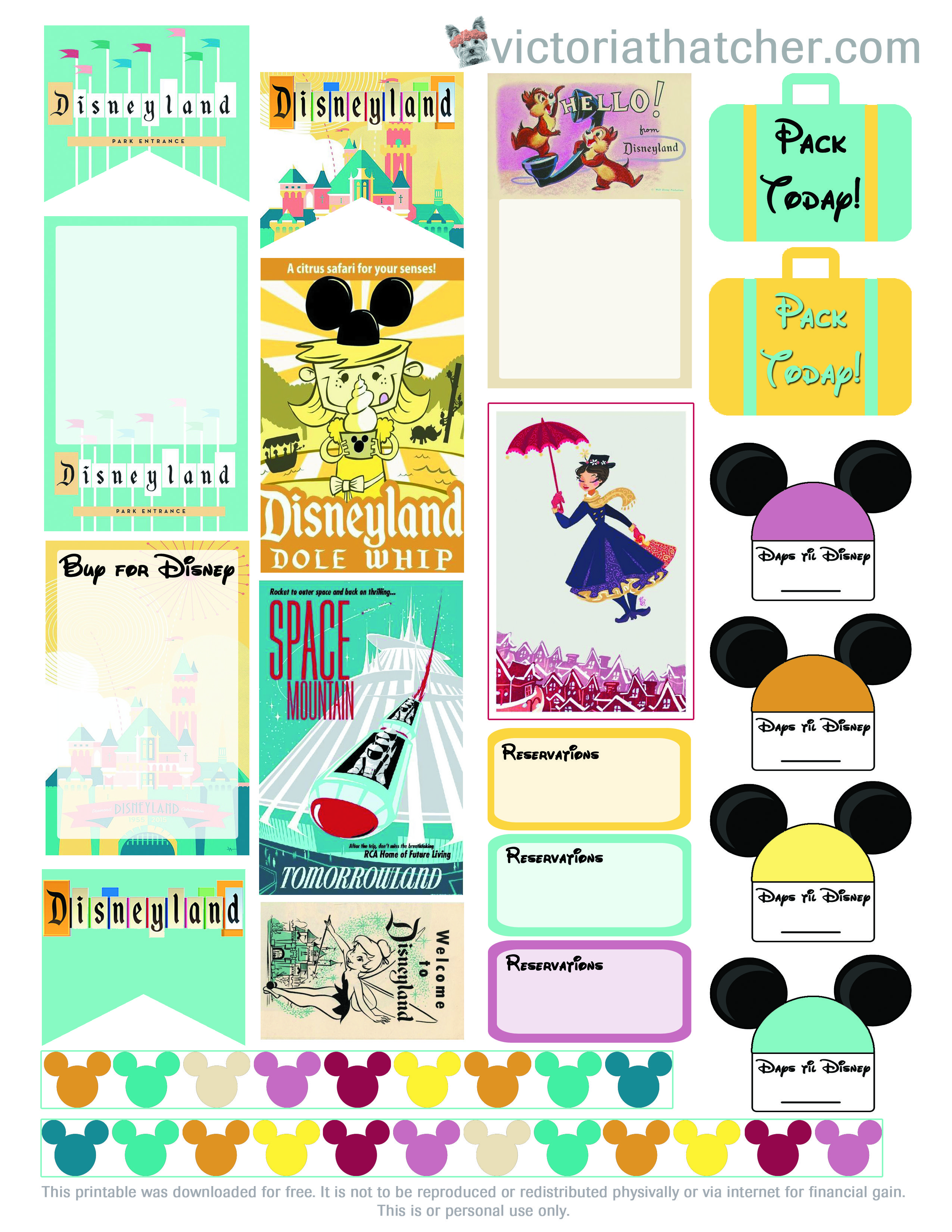 How to scrapbook disney vacation - Plan Your Disney Vacation Using These Free Planner Stickers