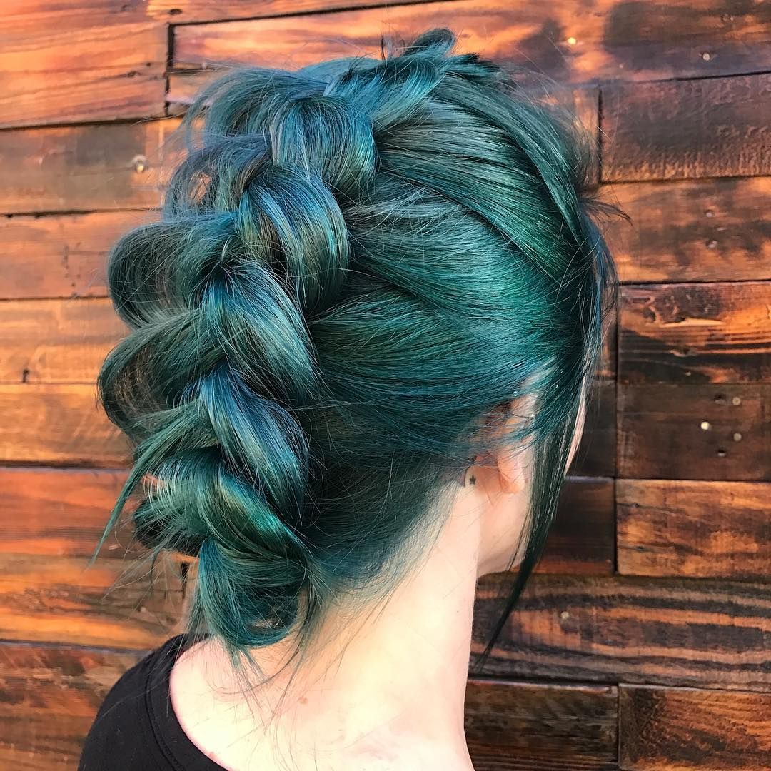 Green hair in a ditch braid, forest green hair color, dark ...