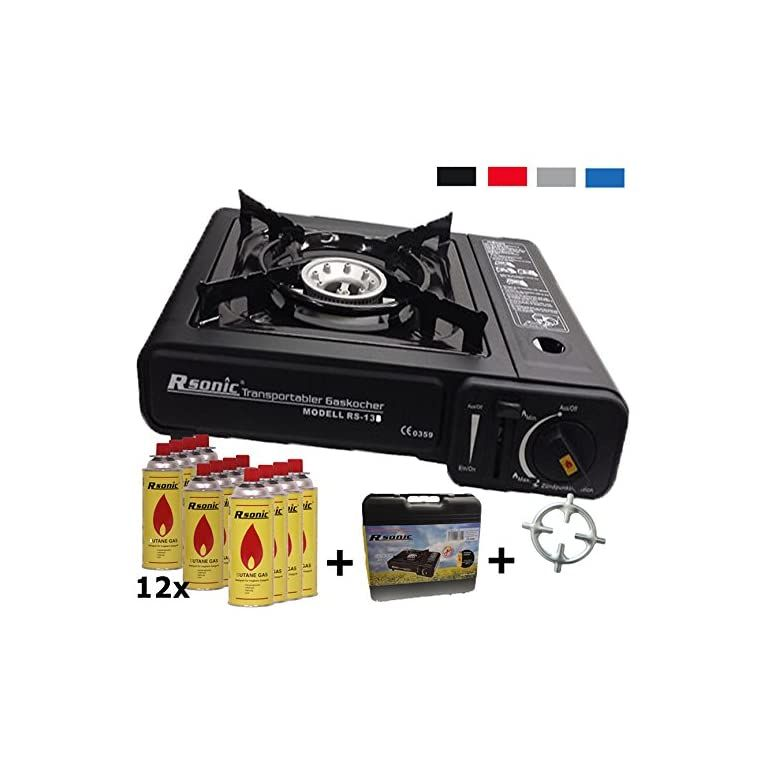 Gas Camping Stove 12 Gas Cartridges With Phoenix Ph T01 Gas Stove Carry Case Black Red Blue Grey Camping Stove Gas Stove Traveling By Yourself