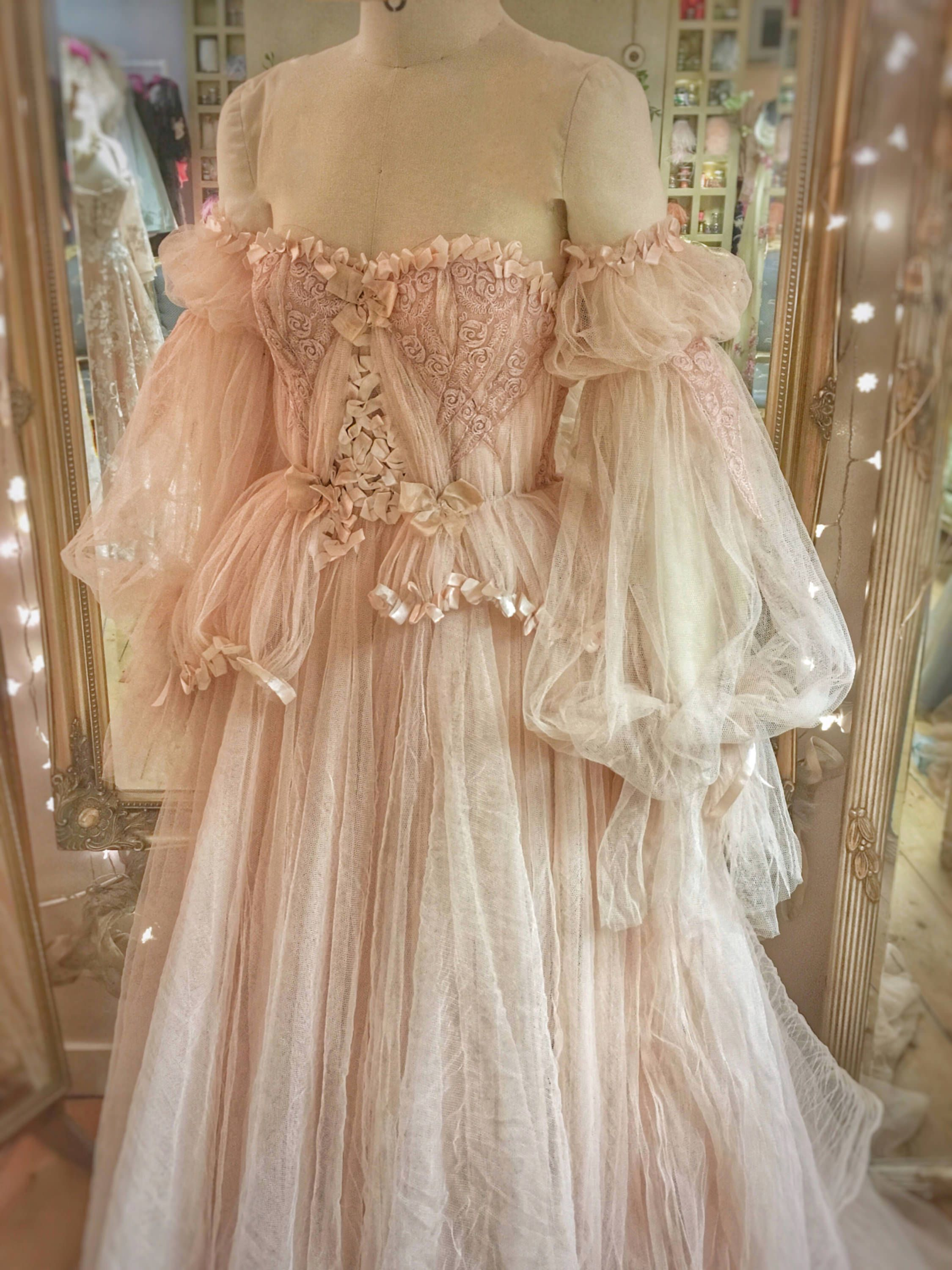 Blush tulle and lace wedding dress with detachable sleeves