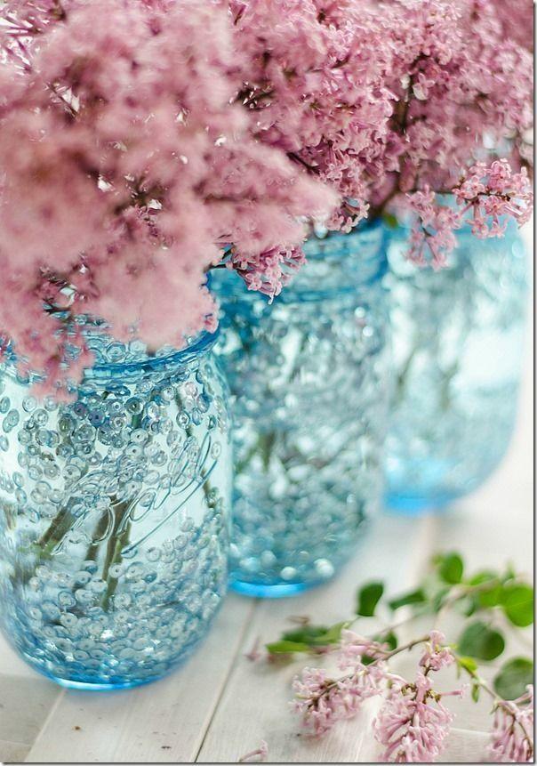 Lilacs in blue mason jars