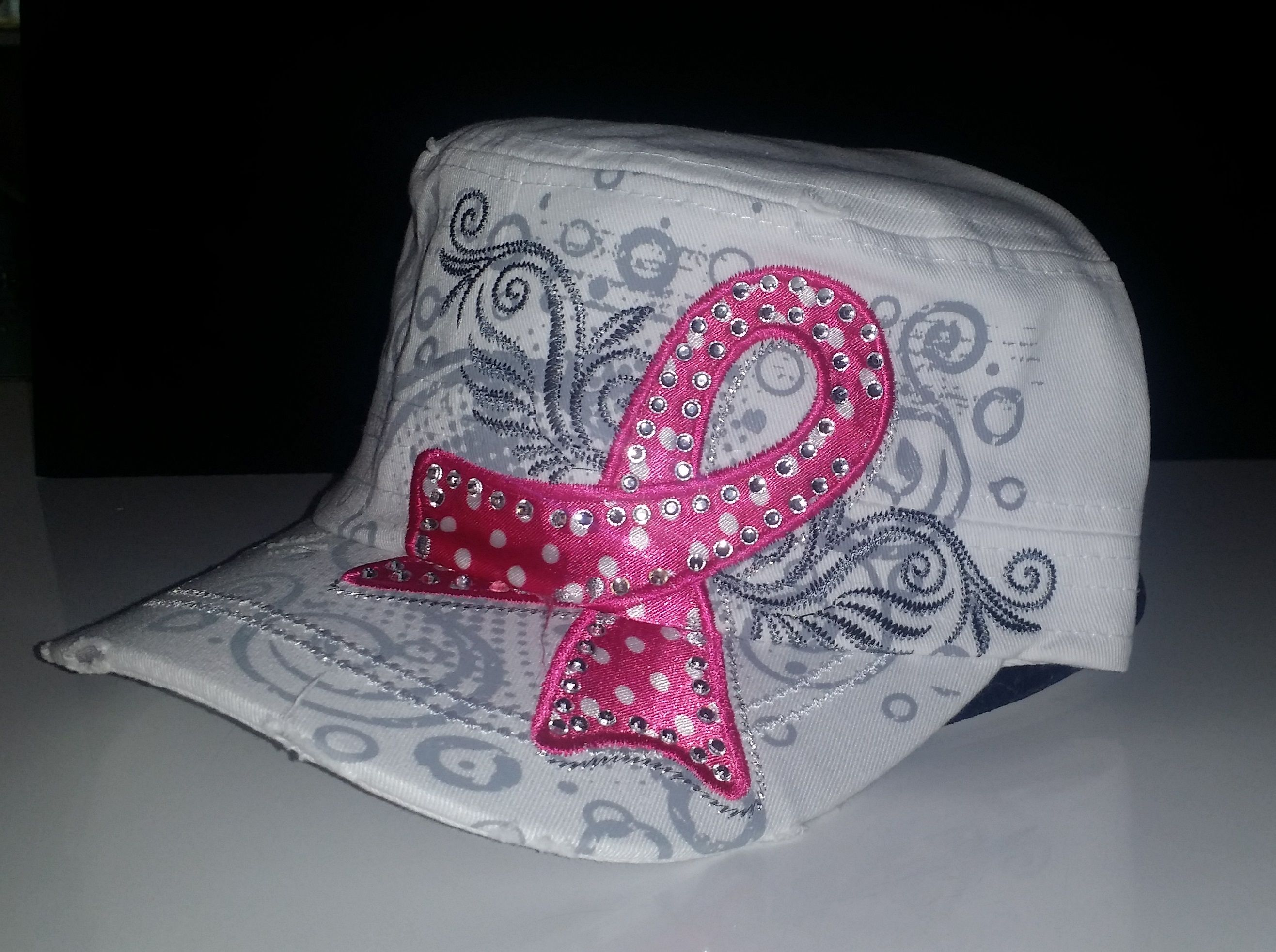 White Fashion Cadet Hat with Bling Pink Ribbon.  Adjustable with Pony Tail Opening. impulsebtq.com