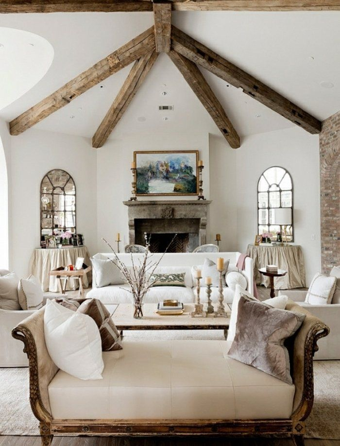 style rustique maison blanc bois chic champtre chemine pierre canap fauteuil divan cuir miroir industriel mtallique - Canape Rustique