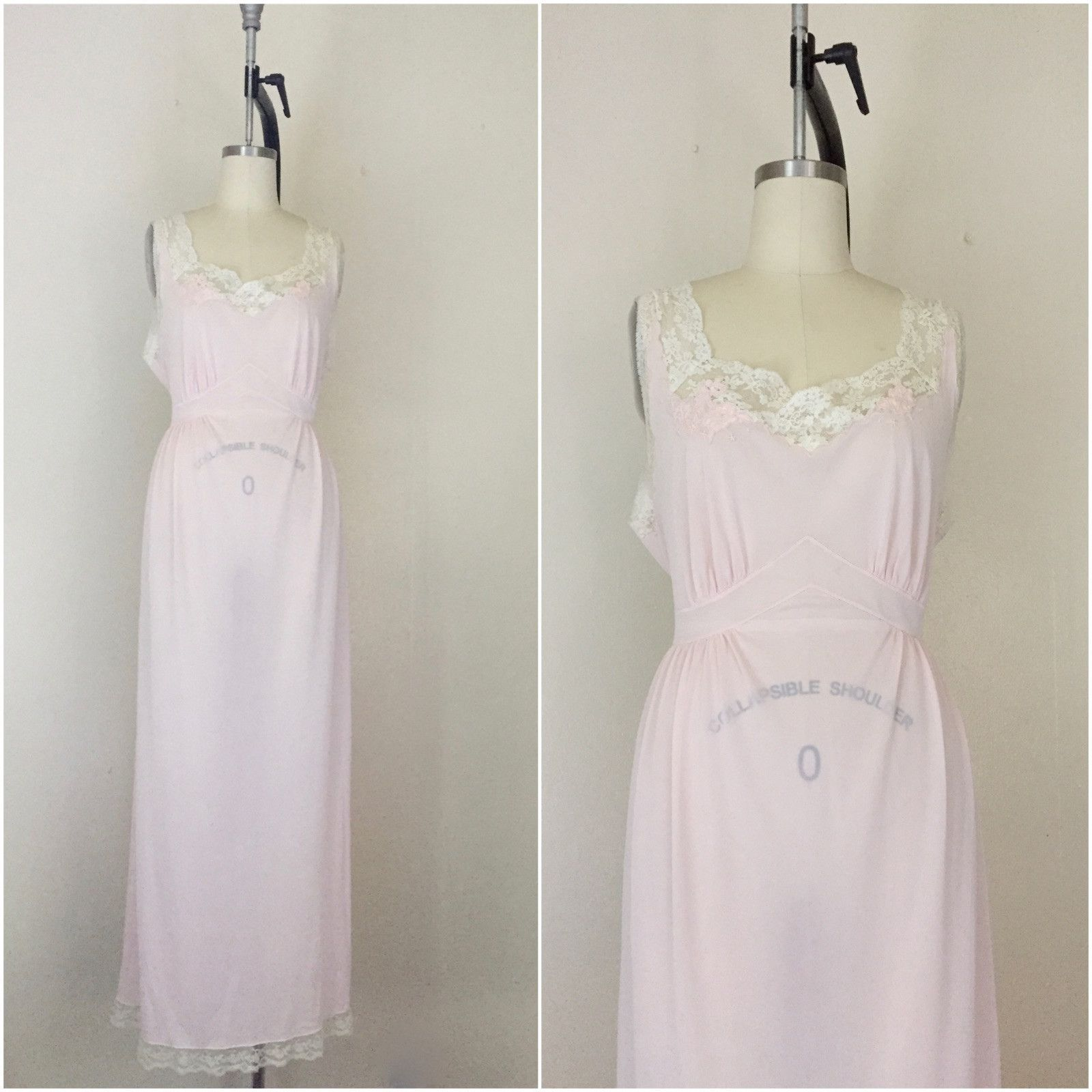 Vintage 1950s Saks Fifth Avenue Lace Pink Nightgown  cdd486455