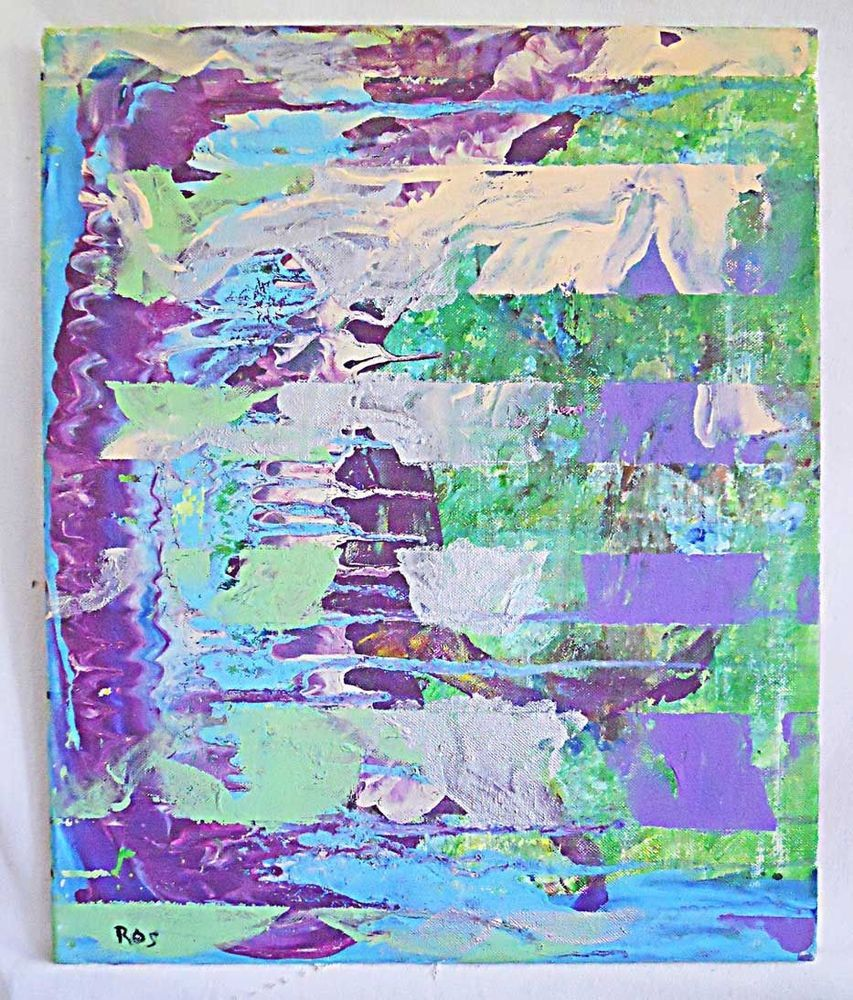 Outsider Street Art Abstract Painting Horizontal Lines Lavender Green Blue Ros Ebay Abstract Art Painting Rose Art Abstract Painting