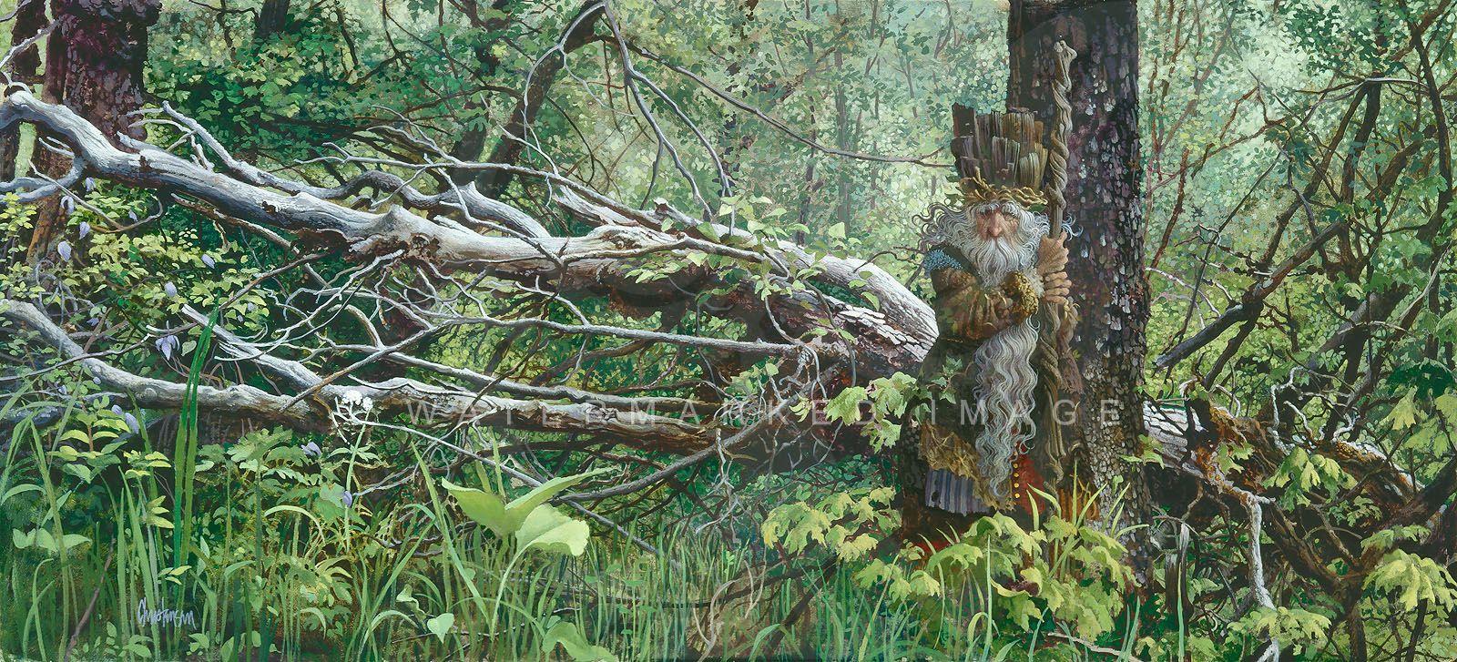 James Christensen Guardian In The Woods By James C Christensen