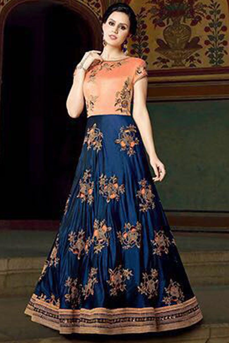 Blue & Peach Color CxN Burfi Floral Embroidered Indian Traditional ...