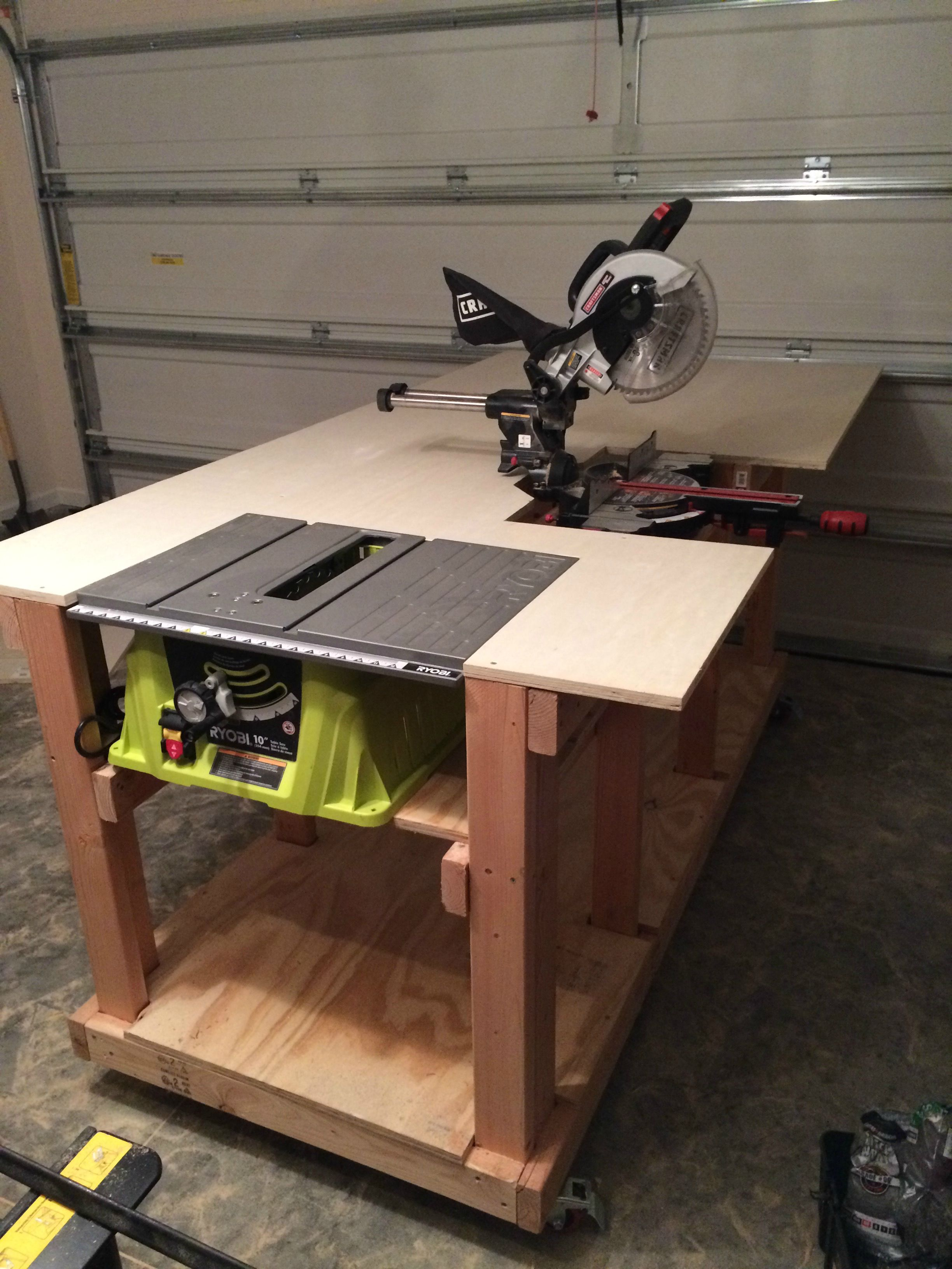 Incorporate Your Power Tools Into Your Work Bench Work Bench Power Tool Storage Diy Workbench Garage Work Bench Woodworking Workbench