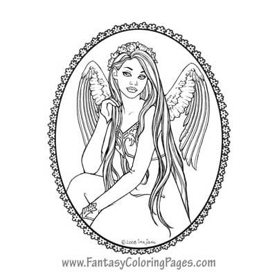 Nitika By Ina Jane Angel Fantasy Myth Mythical Legend Wings Warrior Valkyrie Anjos Goth Gothic Coloring Pages Colouring Adult Detailed Advanced Printable