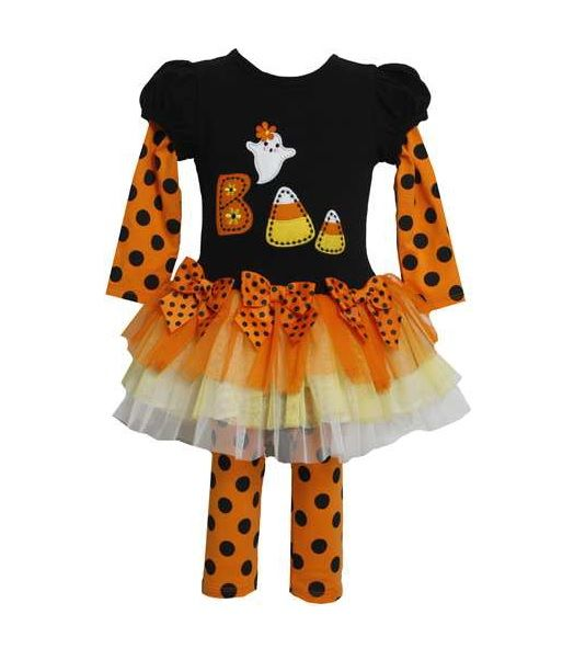 Bonnie Jean Girl Halloween Boo Ghost Candy Corn Tutu Fall Dress Legging Outfit 6 | eBay