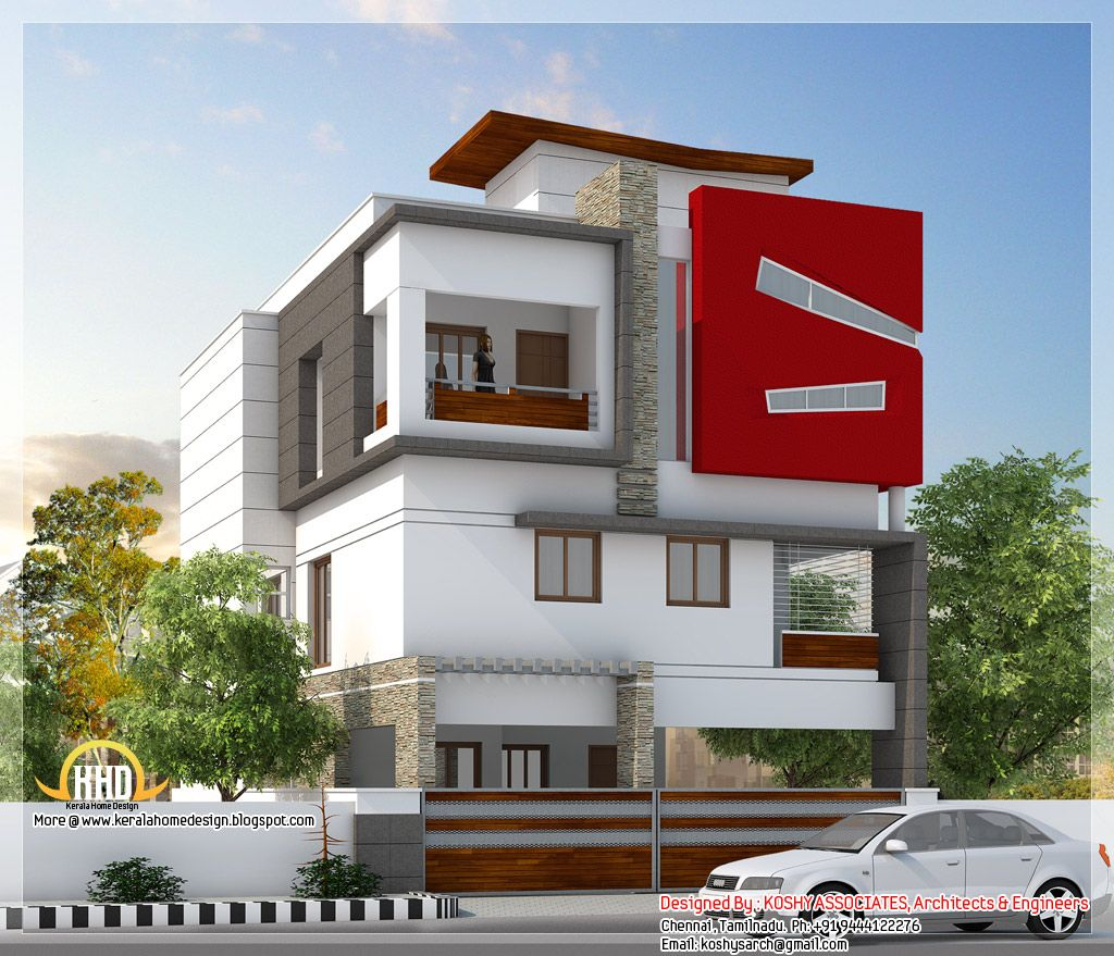 Contemporary Three Storied Residential Building: Beautiful Modern 3 Storey House Tamilnadu Villa