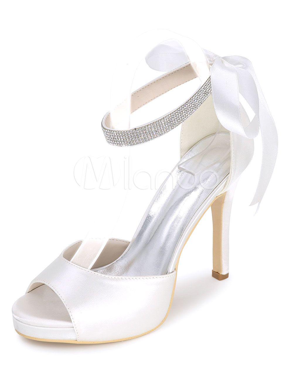f577c456f6 Platform Wedding Shoes Satin Sandals Women's High Heel Ankle Strap ...