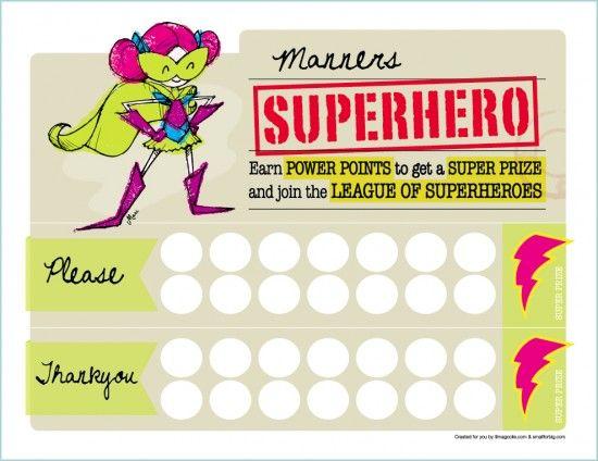 free superhero reward chart printable | Superhero, Manners and Chart