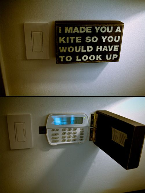 Cover up an ugly alarm control panel. I did this with a cheap piece of art from TJ Maxx that fits, some hinges, and a magnetic catch so it stays closed. * I originally planned on painting it with chalkboard paint so I can write reminder notes. That may still happen when I get tired of it. Or paint it the color of the wall so it disappears.