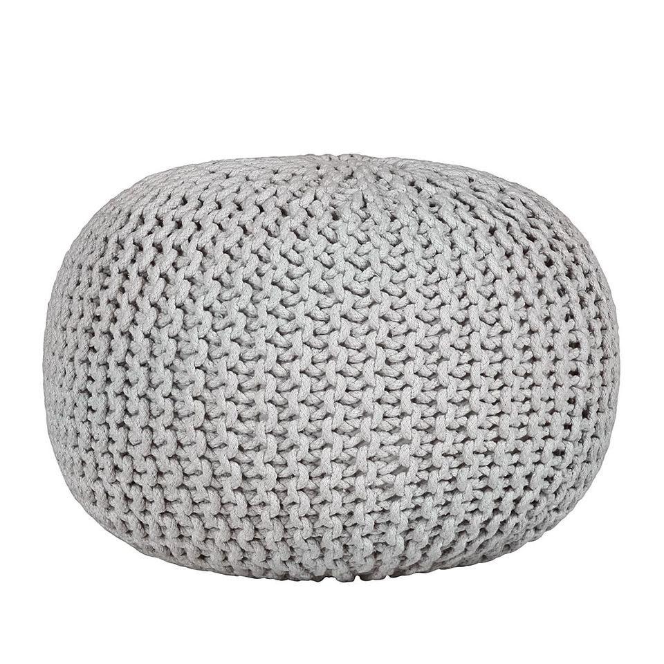 Strickpouf Pouf Hocker Sessel Sitzsack Relaxsessel Grau Webstoff Baumwolle NEU #ebayinspiriert