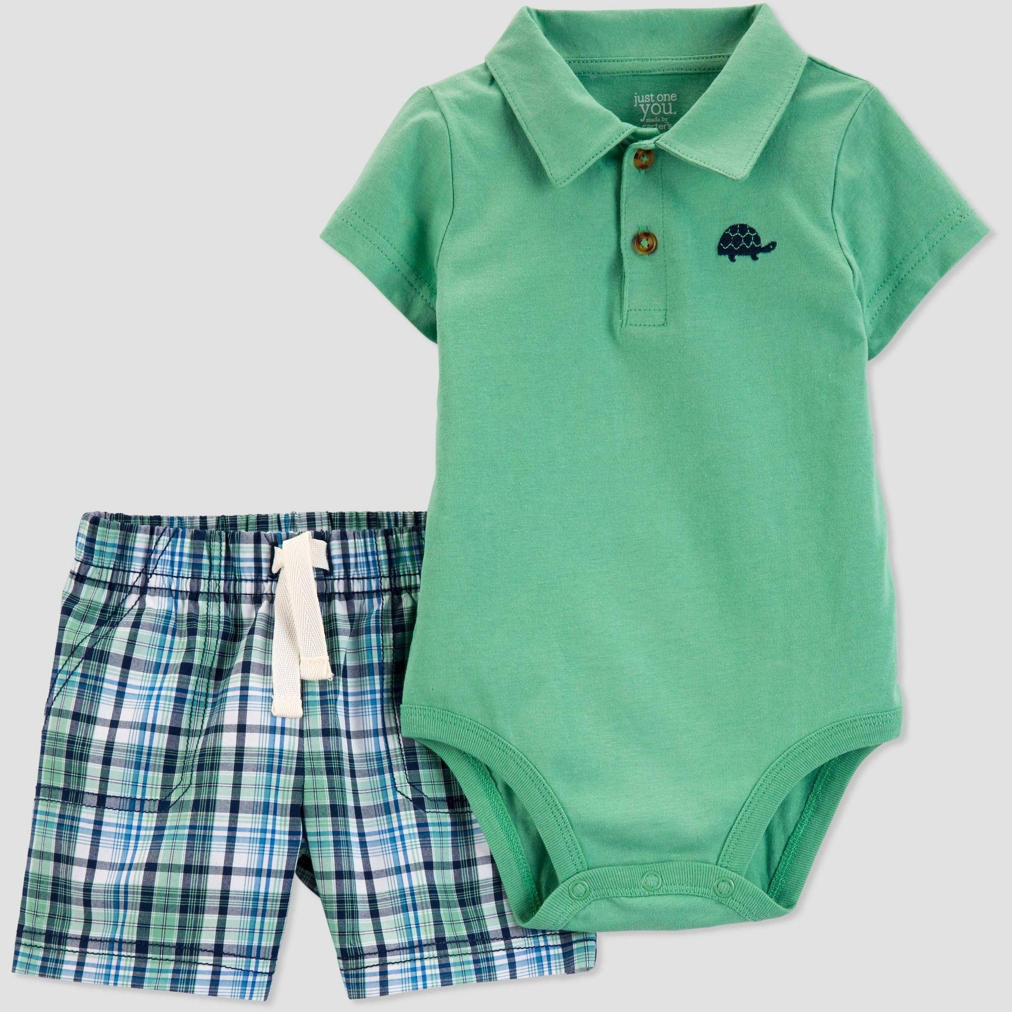 67f4c0ab2 Baby Boys' 2pc Plaid Turtle Shorts Set - Just One You made by carter's  Green 18M