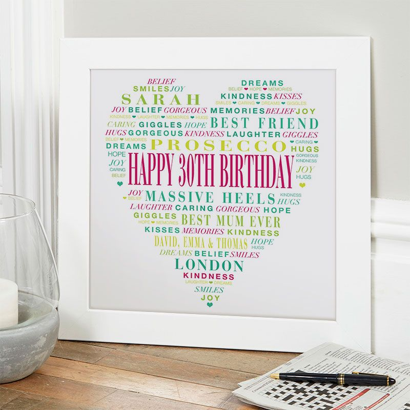 30th Birthday Gift For Her Of Typographic Love Heart