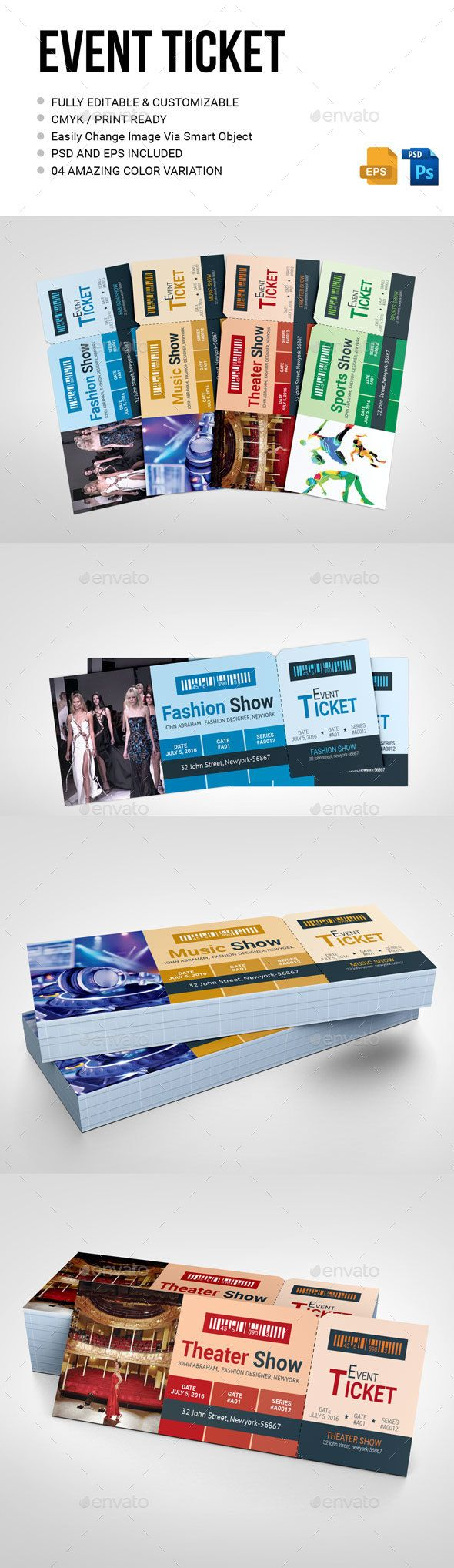 Event Ticket PSD Template • Download ↓ https://graphicriver.net ...
