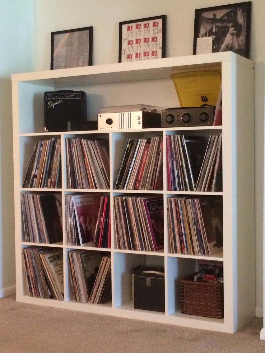ikea expedit record storage hack around the house