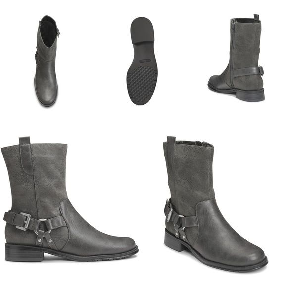 """Grey Moto Boots Bodacious harness strap with studs and buckle gives this equestrian style a timeless yet super trendy look. Constructed with a 1"""" heel, side zipper entry and side pull-tab for the total look. Delight in the feel of a cushioned memory foam footbed as well as the total core comfort from Aerosoles. 7 3/4"""" Shaft Height 11 3/4""""-13 3/4"""" Shaft Circumference Shaft Circumference Ranges by size from size 6-11. AEROSOLES Shoes Combat & Moto Boots"""