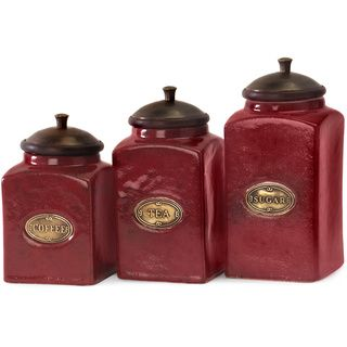 3-piece Red Ceramic Canister Set | Overstock.com Shopping - The Best Deals on Storage Canisters