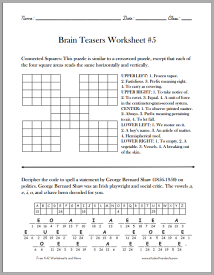 brain teasers worksheet 5 free to print pdf grades 4 and up